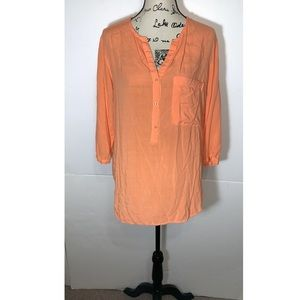 Cloth & Stone Button Front Sheer Front Pocket Top